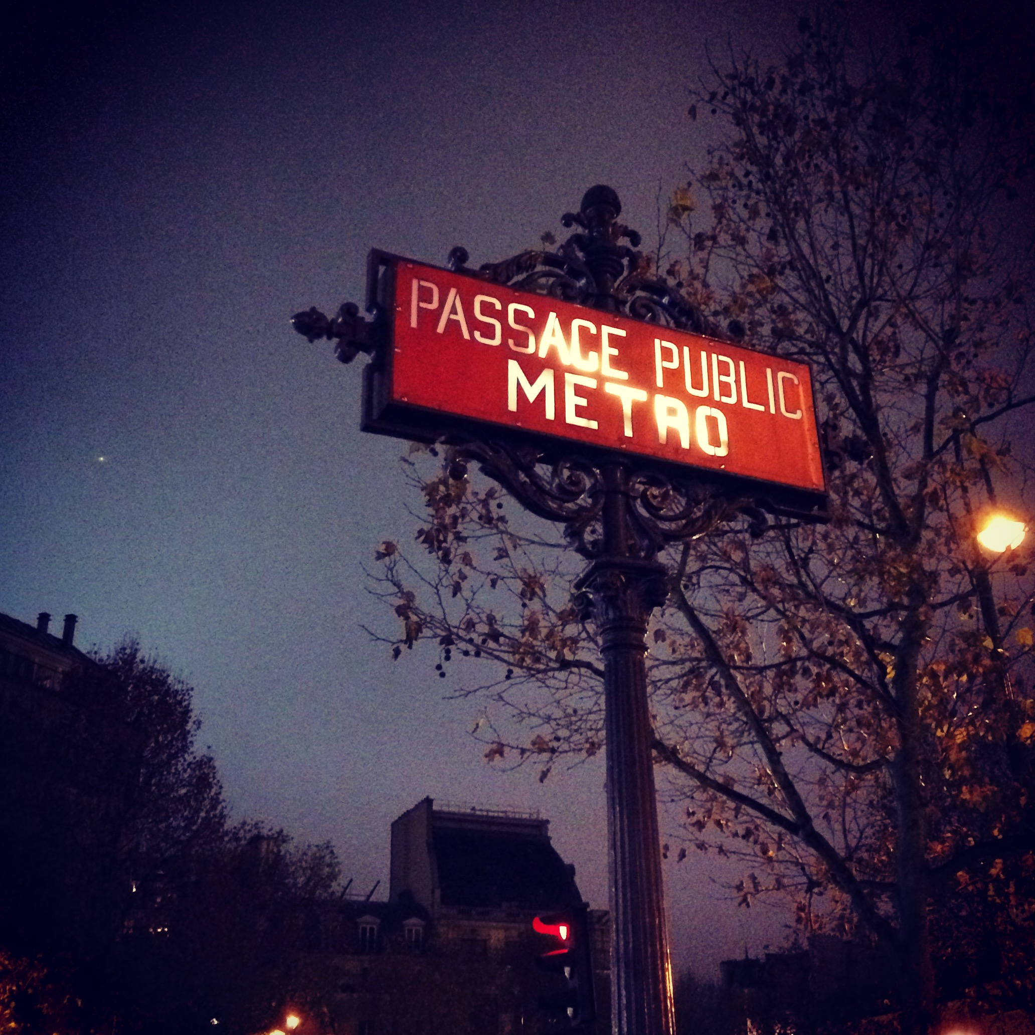 When I was in Paris I took a photo of this Metro sign at night
