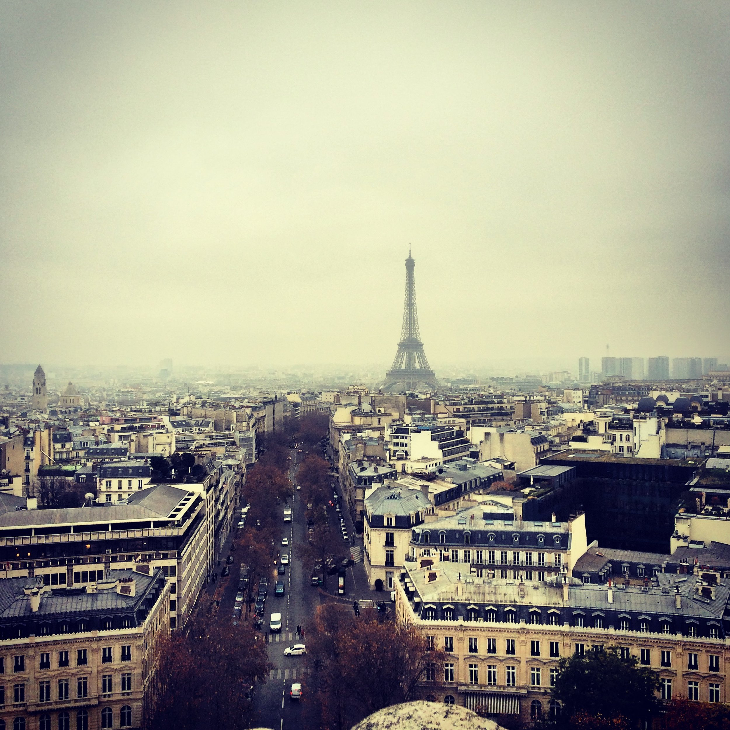 When I was in Paris I went up the Arc de Triomphe and took a picture of the Eiffel Tower