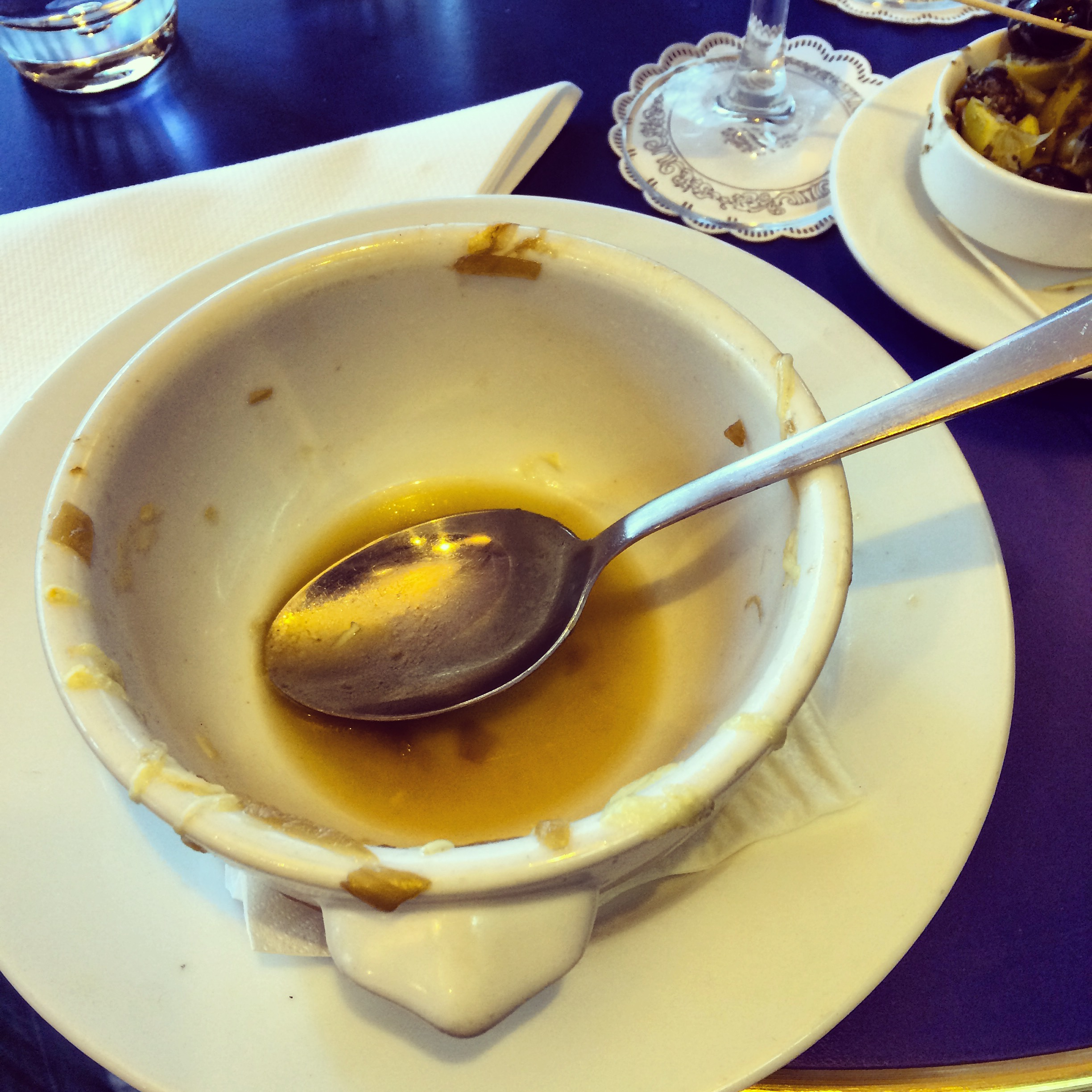 When I was in Paris I had onion soup and forgot to Instagram it until afterwards