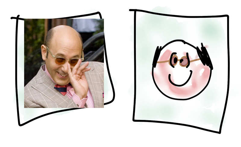 L-R: That picture I drew of my dad a few days ago with tinted glasses added on top; Stanford Blatch from Sex and the City