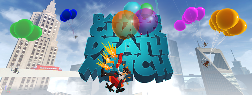 Balloon Chair Death Match vous donne l'opportunité de réaliser vos rêves encore inaccessibles; Assis à des centaines de mètres au-dessus du sol sur une chaise de bureau tenue par des ballons de fête foraine , tout en utilisant votre six-coups pour répondre à cette bataille épique jusqu'à 4 joueurs. Tout le fun d'un Mario Kart Versus en réalité virtuelle !