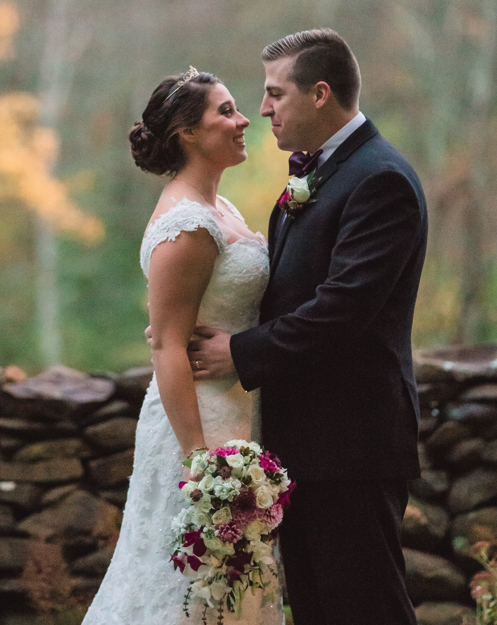 Cranberry Country Wedding  Chelsey and Tylor were married in October - flowers included roses with garden dahlias & basil.