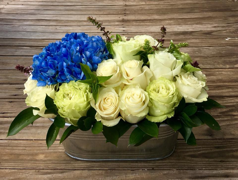 Sympathy Hydrangea and Roses metal planter.jpg
