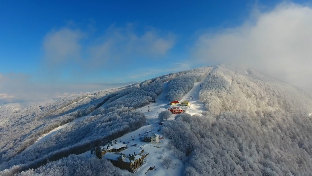 Ski resort from a drone's-eye view - We sell full-length videos and photos.