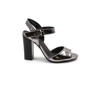 79ae2093863 Pewter Faux Leather Block Heel — KEDDO