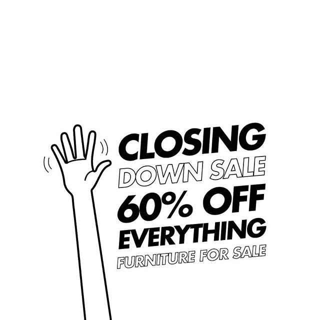 👋🏻 CLOSING DOWN SALE. Up to 60% off all stock.  Furniture and equipment for sale too.