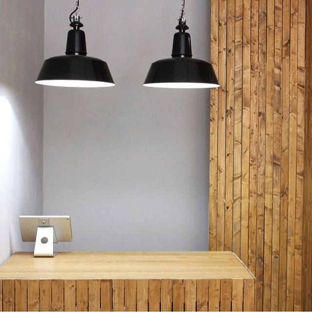 *FOR SALE* @bolichwerke Berlin Suspension Lamps / 35cm diameter / Deep black powder coated, white inside / PVC black cable / Cable suspension with strain relief chain / 100cm length. €130 each.  Collection only.