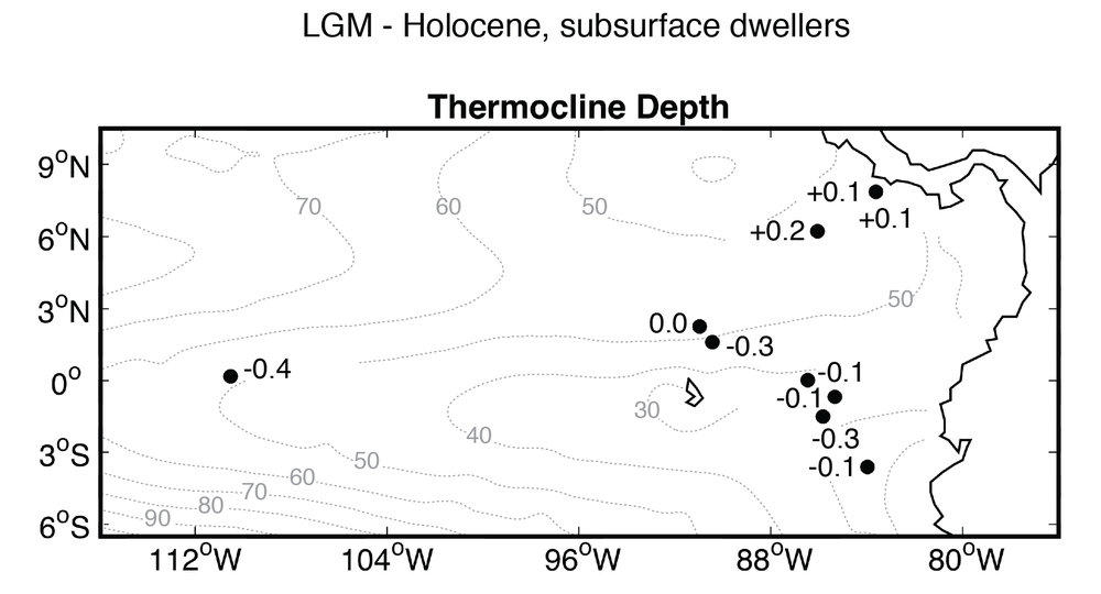 Thermocline reconstructions from the Last Glacial Maximum  McChesney et al., in prep