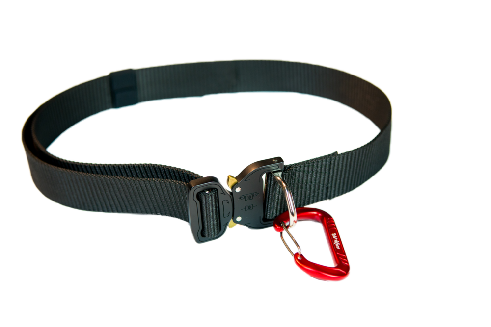 Optional waist belt with secure D Ring closure. Comes with carabiner.