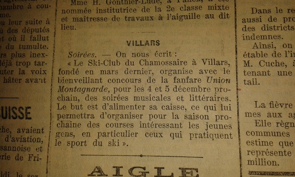 Tiré de la feuille d'avis du district d'Aigle du 23 novembre 1920