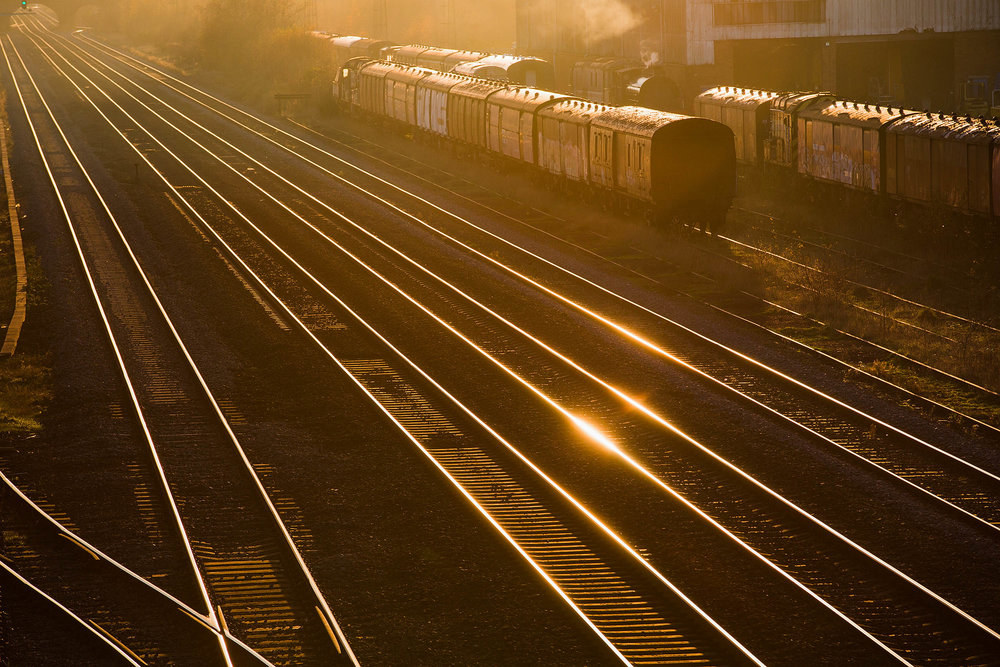 Late afternoon sun on railway lines at Burton-on-Trent