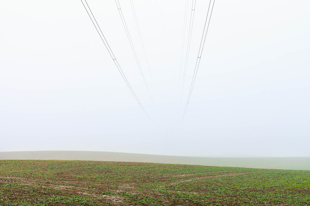 Electricity pylon in fog