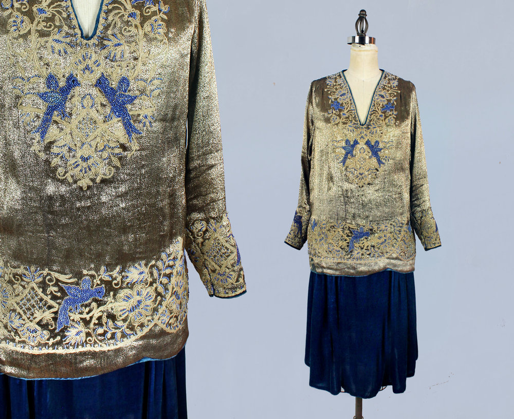 Two piece dress consisting of silk and velvet underdress and gold lamé beaded and embroidered top. 1920s.