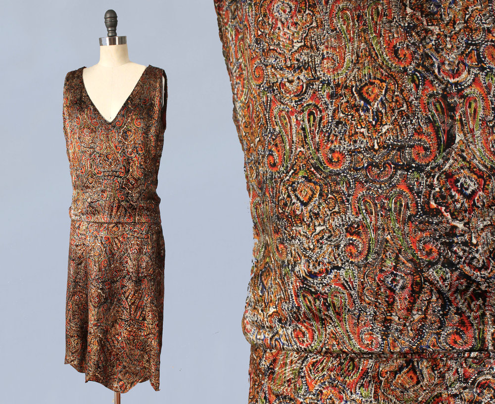 Metallic lamé paisley patterned dress. 1920s.