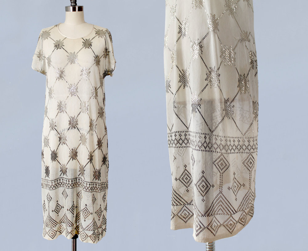 Assuit hammered metal on cotton net dress. Egyptian revival. 1920s.