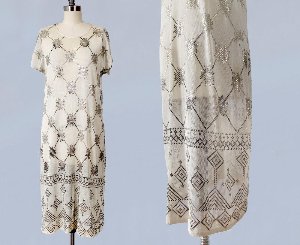 Assuit hammered metal on cotton net dress. Egyptian revival. 1920s.