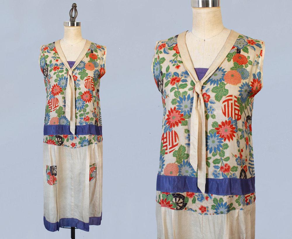 Japanese pongee silk printed dress. 1920s.