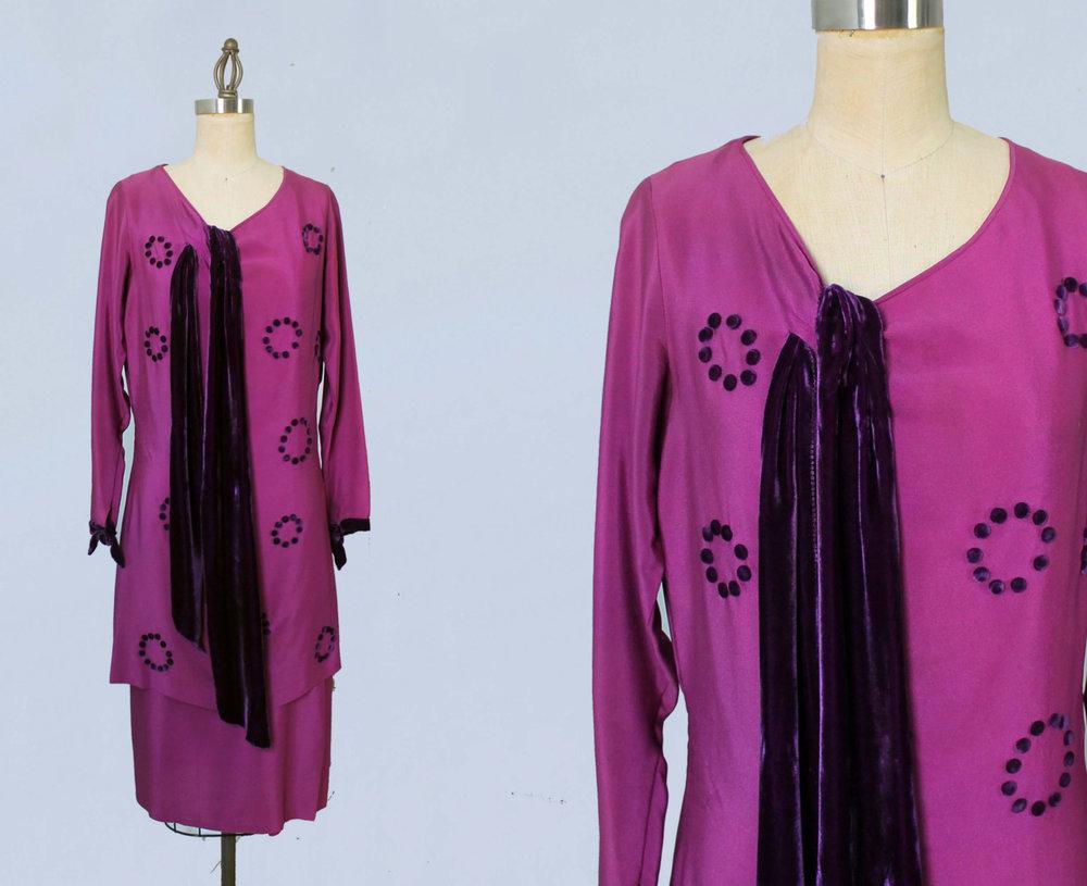 Fuchsia silk dress with purple velvet and pom poms. Late 1920s.