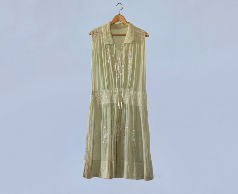 Pale green embroidered cotton peasant dress. 1920s.