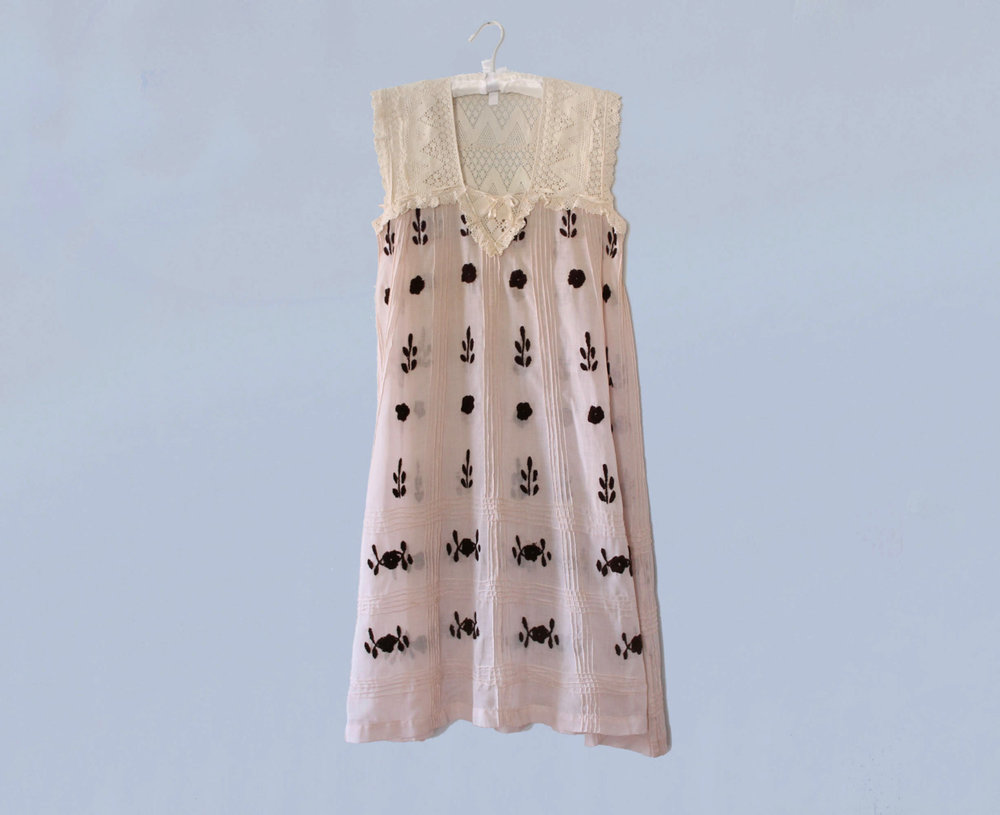 Cotton embroidered night dress with lace yoke. 1910s.