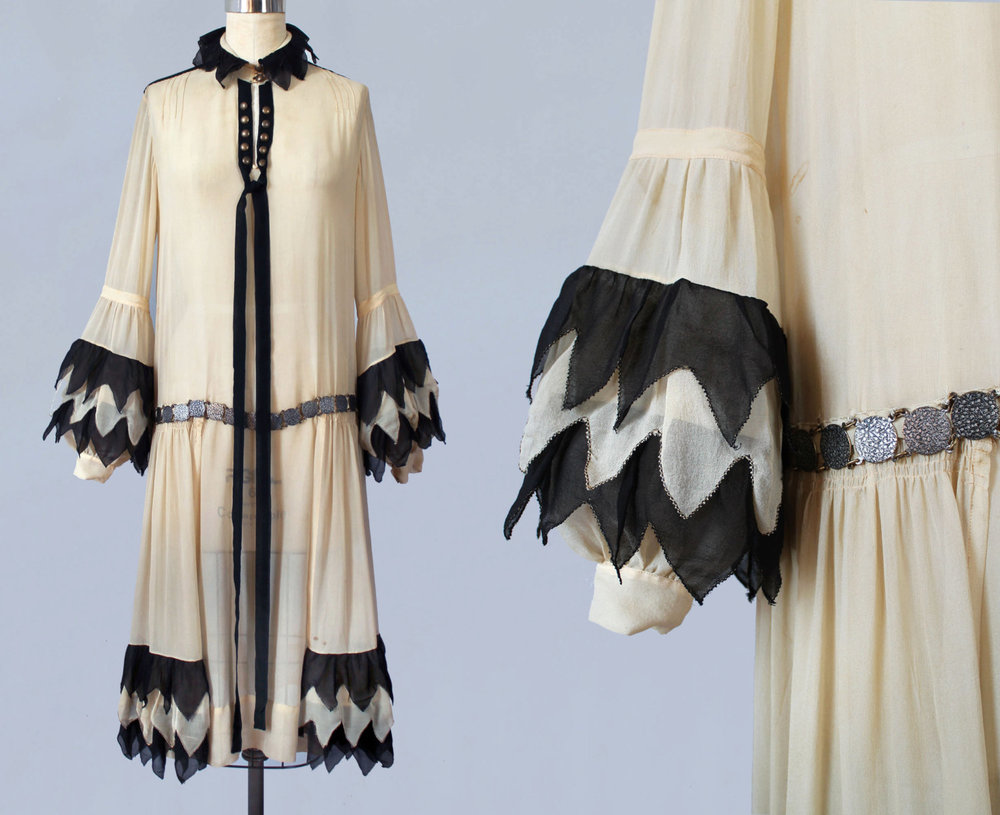 Black and cream silk Pierrette inspired dress. 1920s.