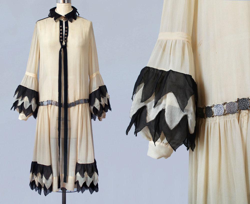 Black and cream silk Pierrette inspired dress. 1920s.