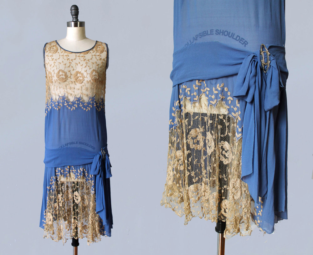 Blue silk and lace dress. 1920s.