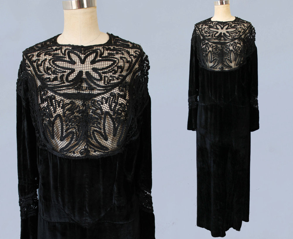 Black velvet dress with net and soutache bib. 1910s-1920s.
