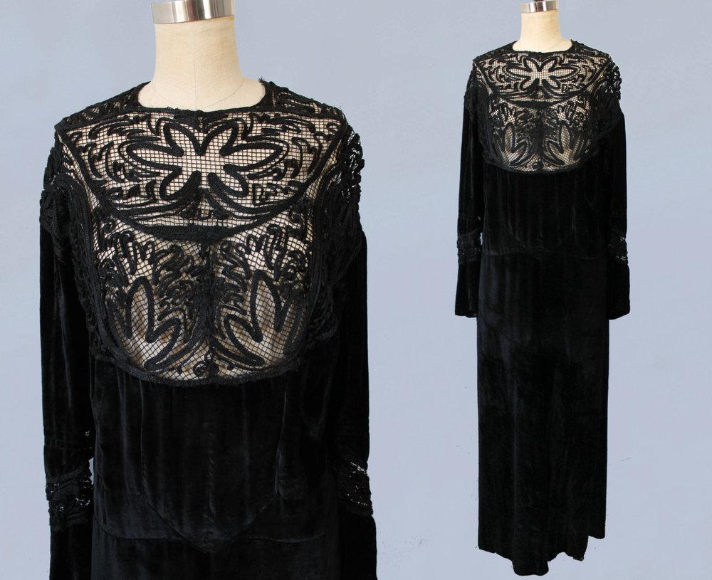 Black velvet dress with net and soutache bib. 1910s-1920s.