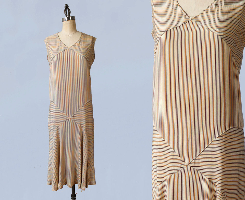 Striped silk sportswear dress. 1920s.
