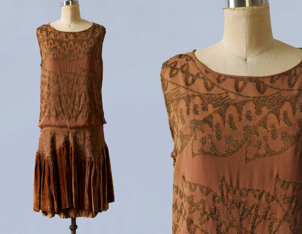 Caramel silk dress with velvet skirt and gold metal embroidery. 1920s.