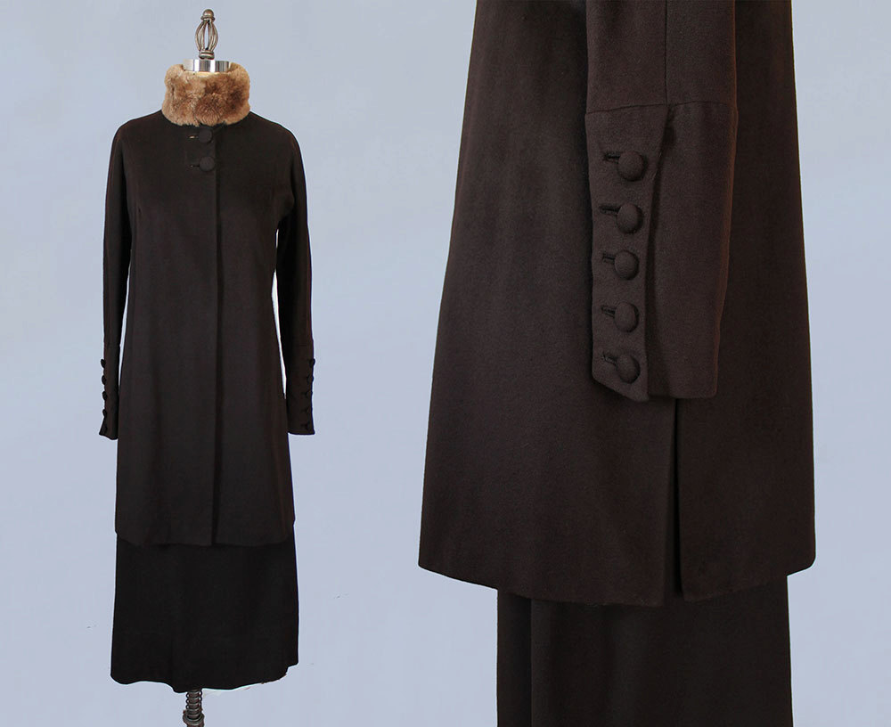 Chocolate wool suit with fur collar. 1910s-1920s.
