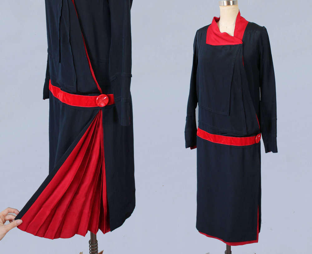 Navy and red silk dress with pleated skirt detail. 1920s.