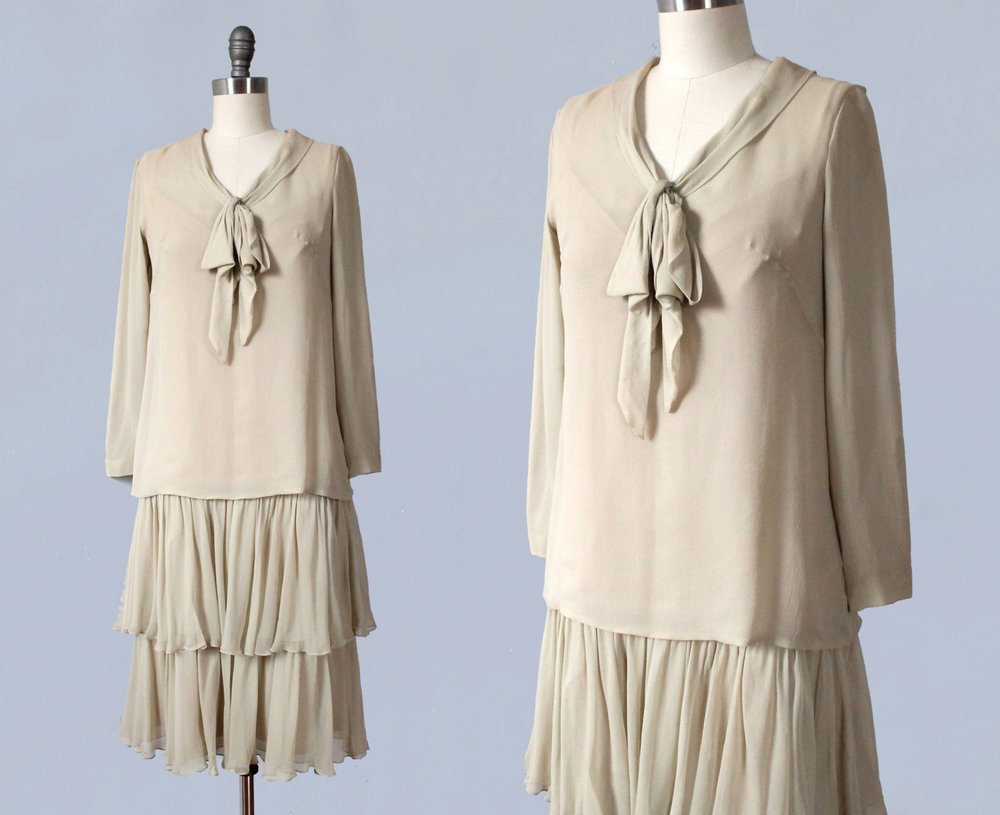 Cream silk two piece dress. 1920s.