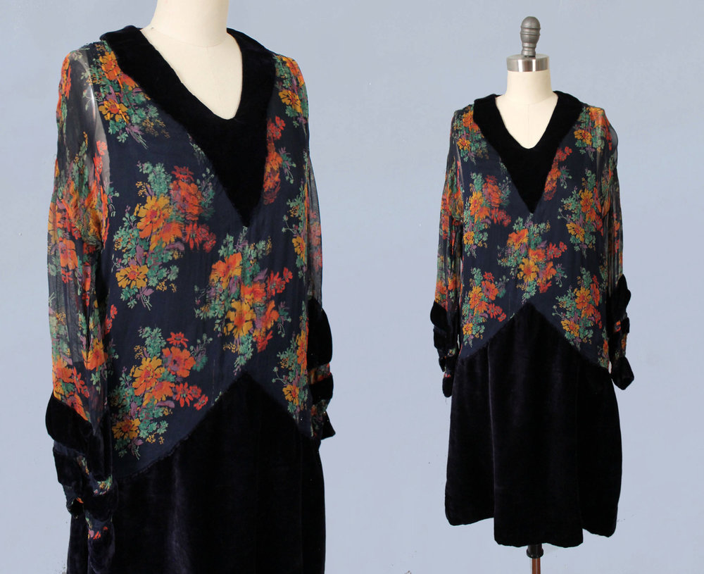Cotton dress with sheer floral print and navy velvet.