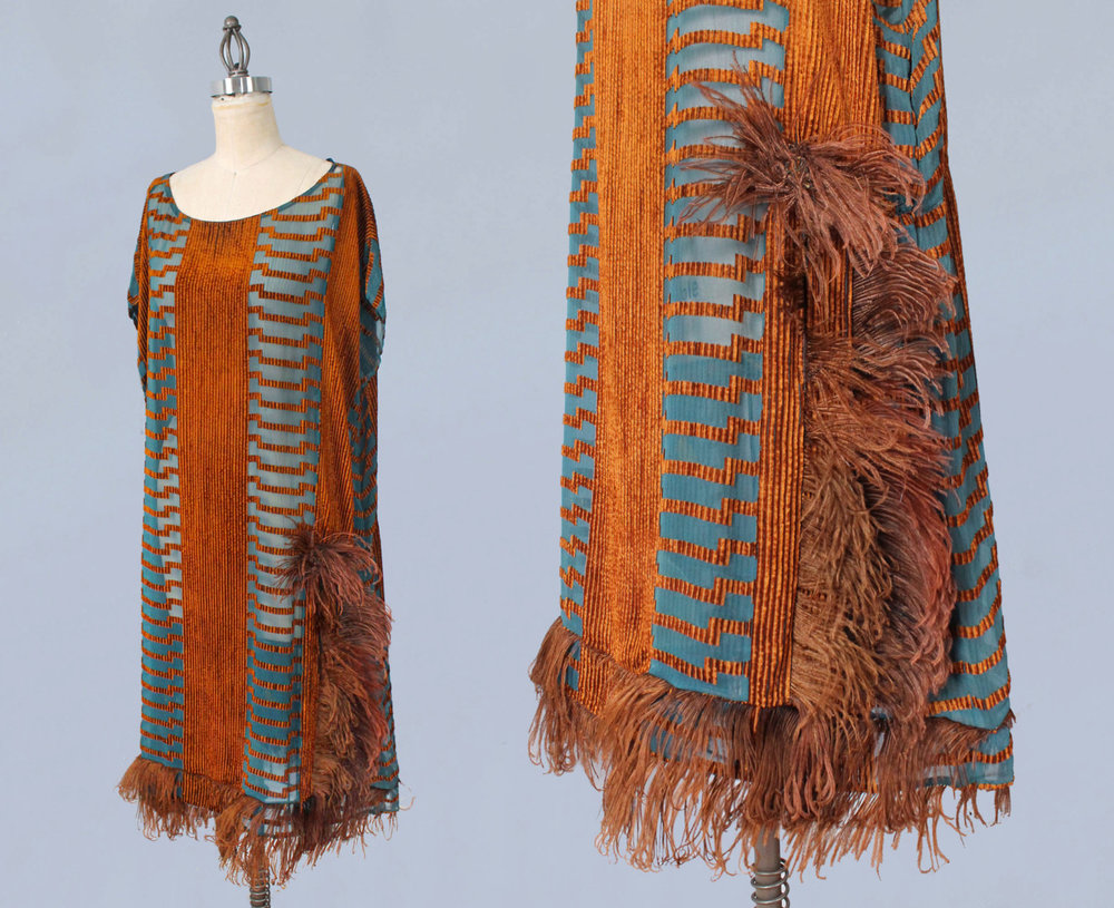 Blue silk and orange velvet dress with ostrich trim. 1920s.