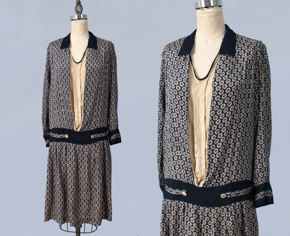 Silk day dress. 1920s.