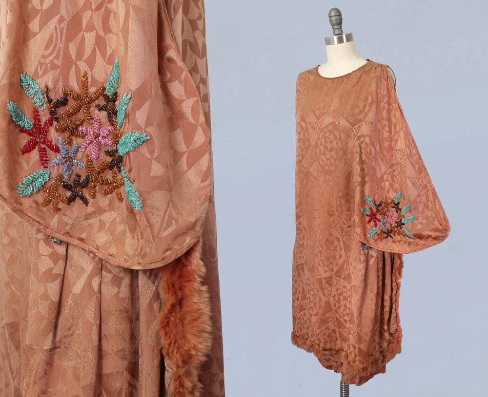 Brown art deco motif jacquard silk dress with floral beading and fur trim. 1920s.