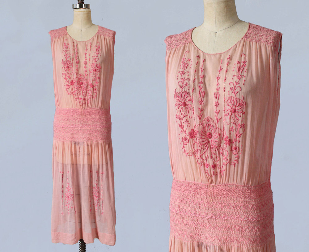 Pink embroidered cotton peasant dress. 1920s.