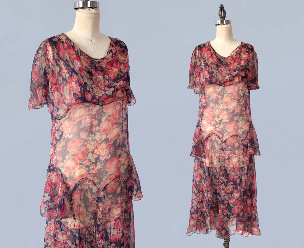 Silk floral dress. 1920s.