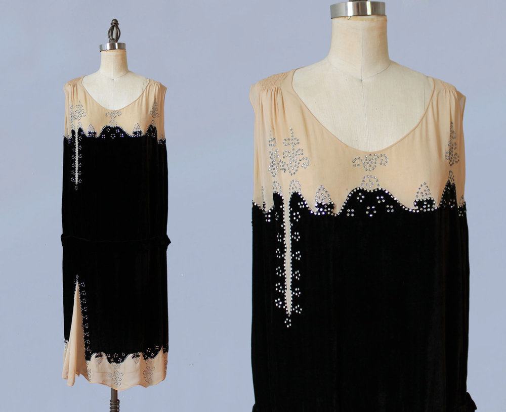 Cream silk and black silk velvet dress with rhinestone design. 1920s.