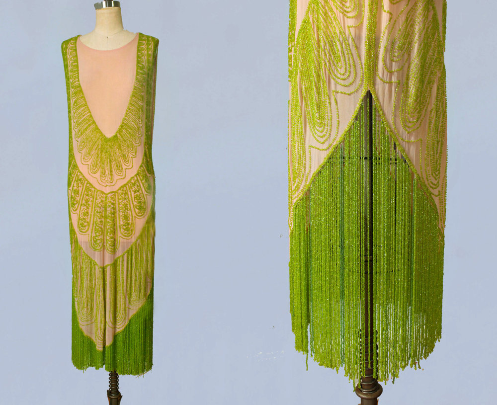 Pink silk and nile green beaded flapper dress. 1920s.