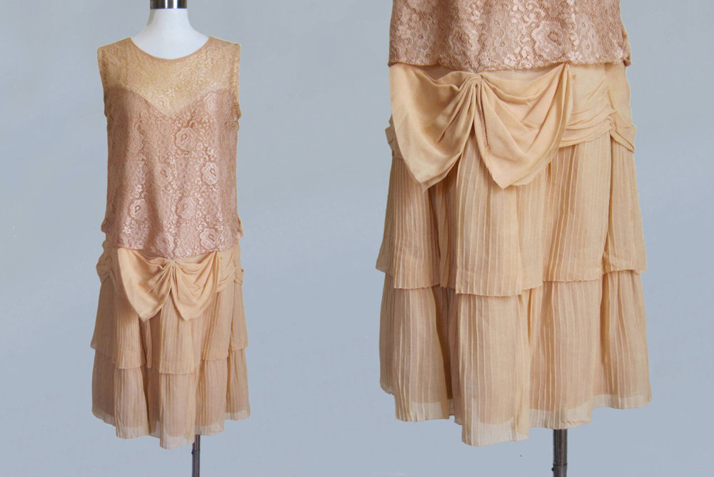 Pale pink lace dress. 1920s.