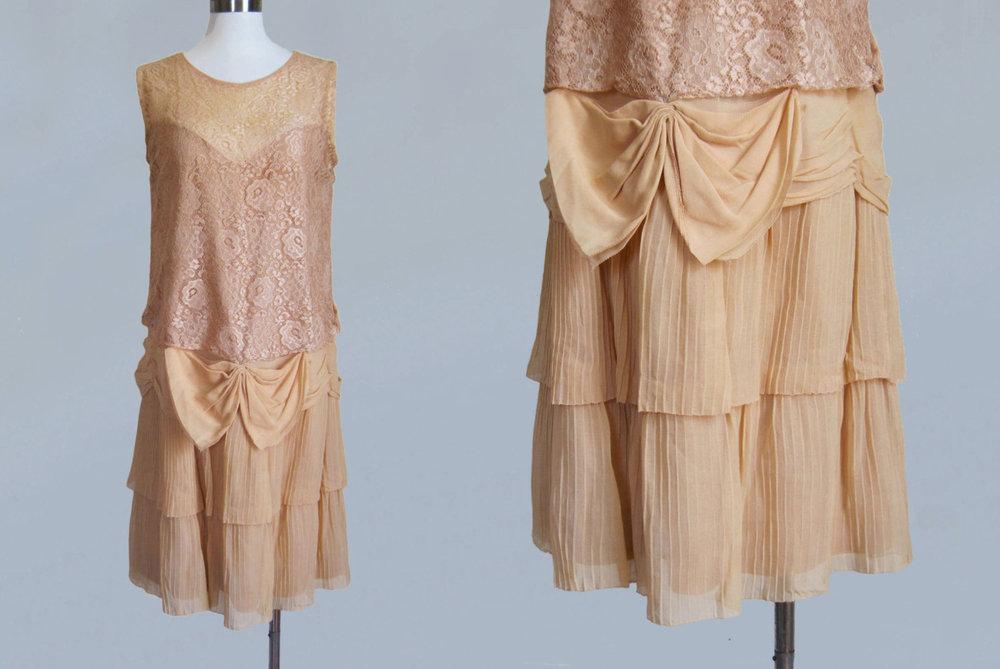 Pale pink lace dress. 1920s.