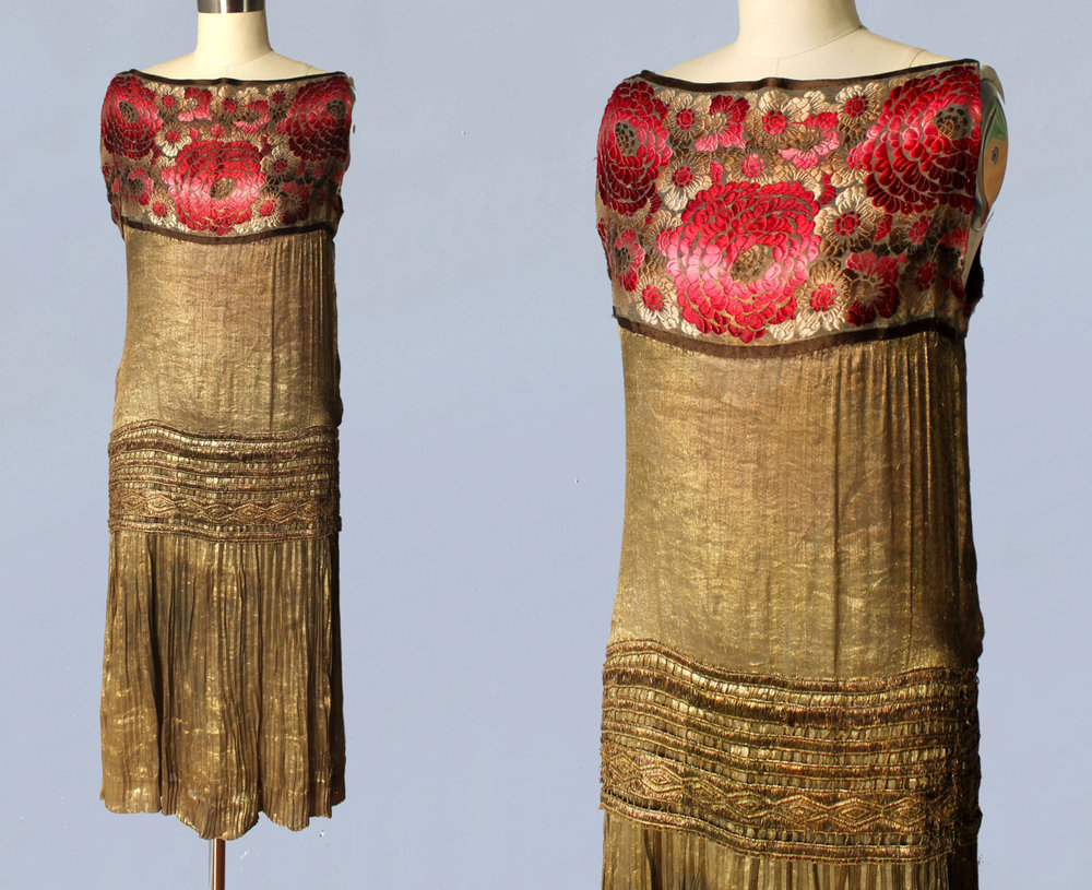Metallic gold lamé dress with floral yoke. 1920s.