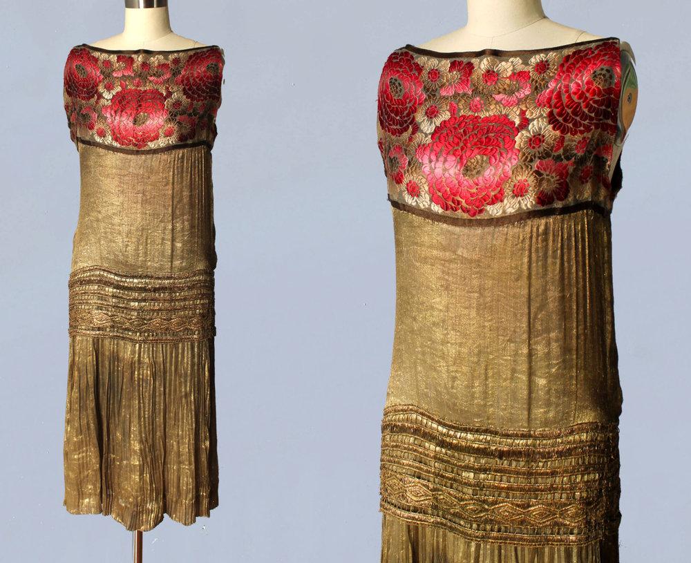 Metallic gold lamé dress with floral yoke. 1920s.