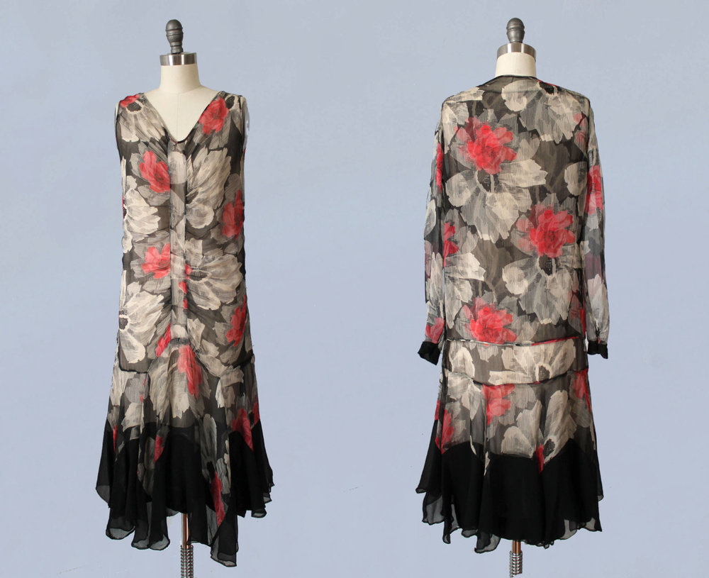 Printed silk chiffon dress and jacket set. 1920s.