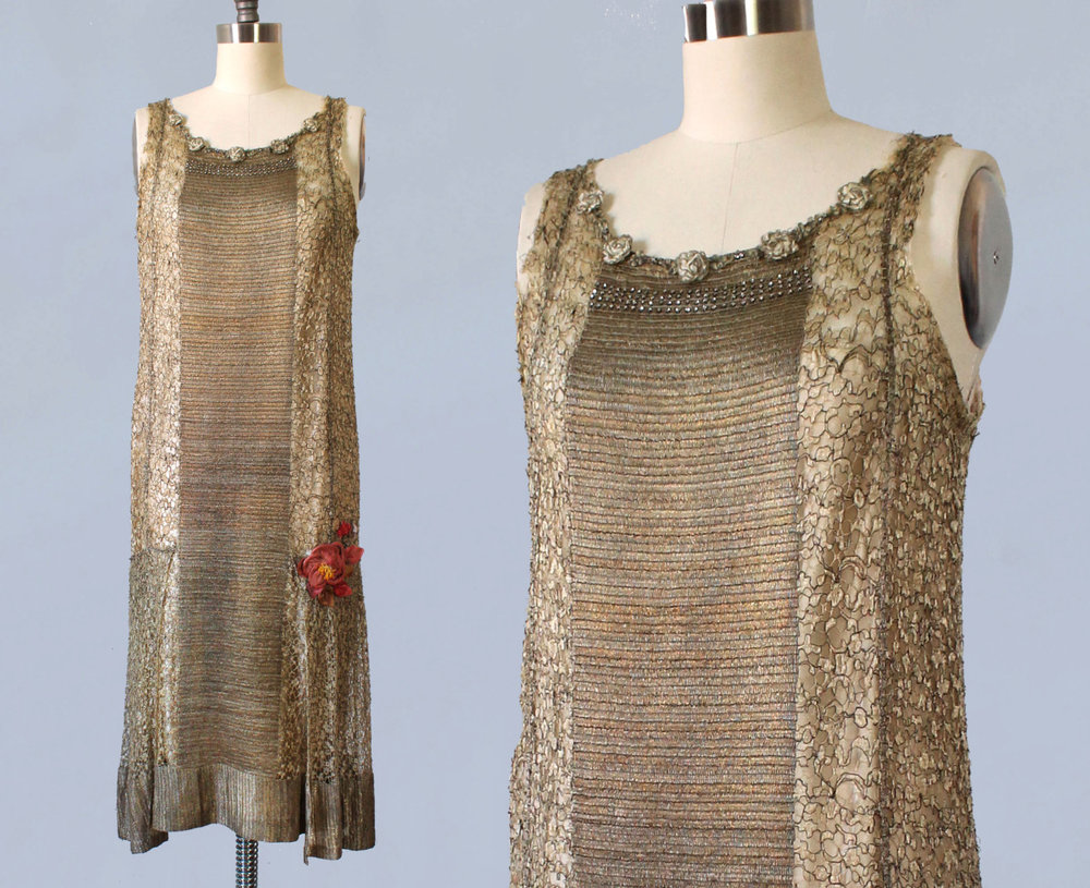 Metallic gold lamé dress. 1920s.