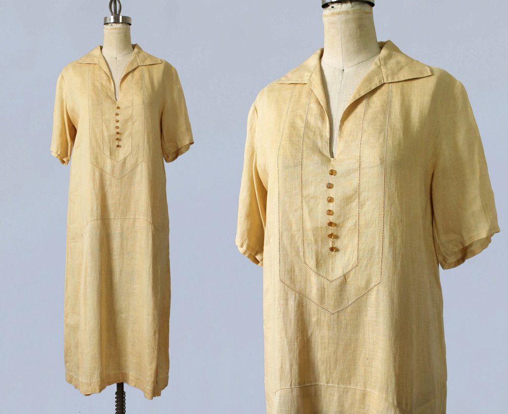 Yellow cotton dress. 1920s.