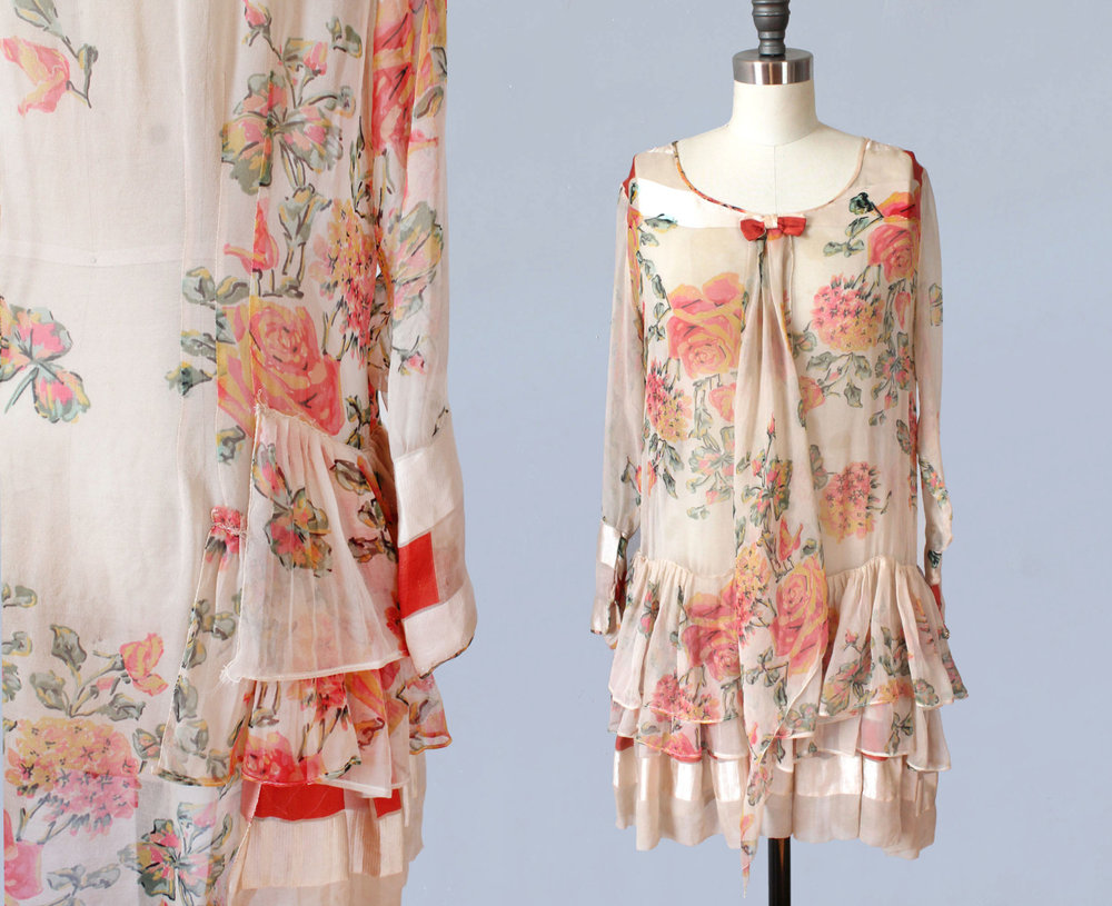 Floral silk chiffon dress. 1920s.